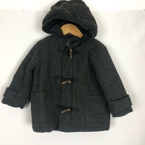 Place Wool Blend Duffle Hooded Coat Grey Size 24 M